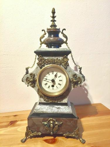 Rare Antique French Vintage Marble Granite Bronze Ornate Slate Mantel Clock (1 of 12)