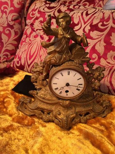 Rare Antique French Japy Freres Gilt Gilded Brass Vintage Mantel Clock (1 of 8)
