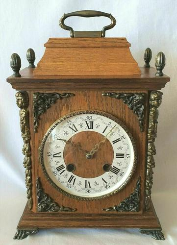 Rare Franz Hermle Mantel Clock 8 Day Bim Bams 3 Hammers with Silent Mode (1 of 4)