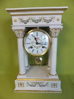 Rare Porcelain Portico Mantel Clock Franklin Mint Franz Hermle Limited Edition (1 of 7)
