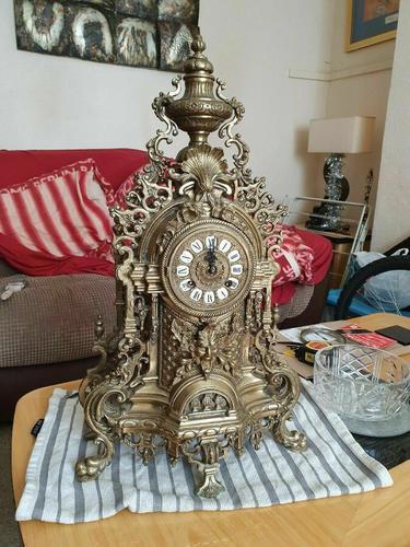 Franz Hermle Vintage Gilt Imperial Ormolu Brass Mantel Mantle Clock (1 of 7)