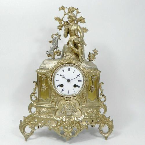 Rare 1855 Antique Japy Freres Clock Gilded Ormolu Silver Mantel Mantle Clock (1 of 6)
