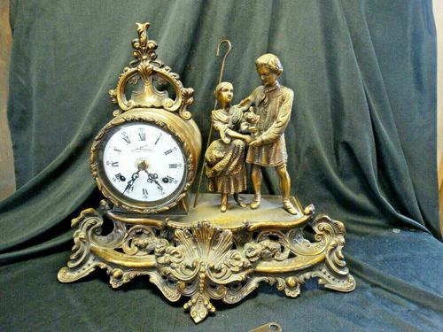 Rare Lancini Gilded Vintage Ormolu Figural Mantle Mantel Clock Hermle (1 of 9)