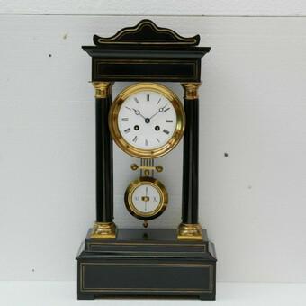 Rare Antique 1860 French Ebonised Ormolu Pendule J. Falconnier Portico Clock (1 of 11)