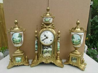 Rare Franz Hermle Imperial Ormolu Sevres Clock with Garnitures (1 of 6)