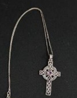 Silver & Amethyst Celtic Cross with Silver Chain (1 of 1)