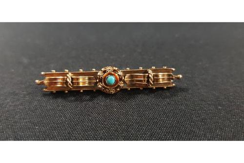 Suffragette Antique 15 Carat Gold & Turquoise Brooch (1 of 1)