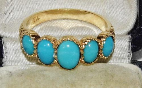 Edwardian Style 9ct Gold On Silver Turquoise 5 Stone Cabochon Ring Size O (1 of 2)