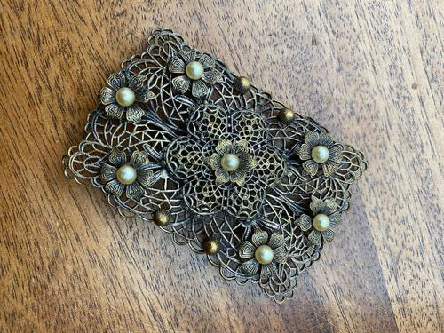 Antique Filigree Silver Brooch Set with Seed Pearls (1 of 2)