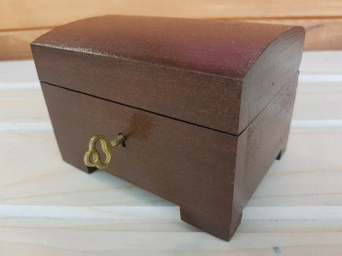Antique Wooden Medium Jewellery Chest with Key (1 of 4)