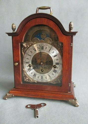 Rare St.James Westminster Franz Hermle 8 Day Mantel Bracket Clock Moon Phase (1 of 10)