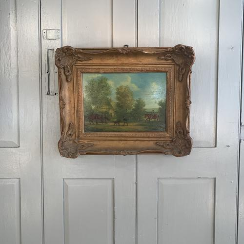 Antique Landscape Oil Painting in Gesso Frame of Farm Scene with Horses & Dog Signed W F Price '1 of 2' (1 of 11)