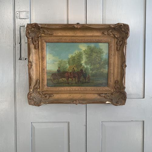 Antique Landscape Oil Painting in Gesso Frame of Farm Scene with Horses & Cart Signed W F Price '2 of 2' (1 of 9)
