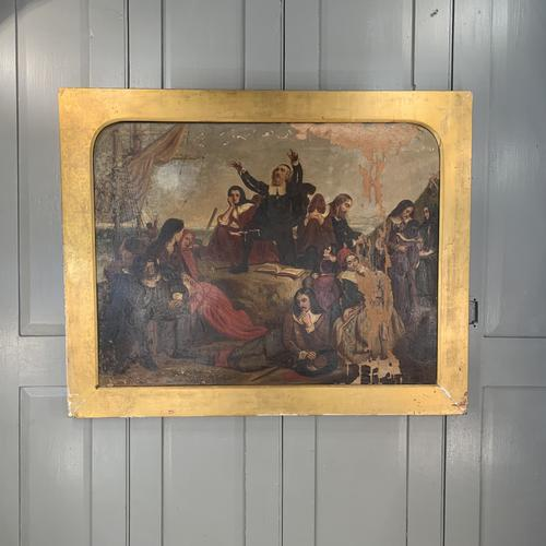 Antique Georgian Oil Painting of the Pilgrim Fathers Dated 1820 (1 of 15)