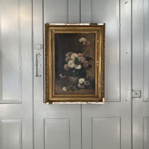 Antique Still Life Oil Painting of Vase of Flowers (1 of 10)