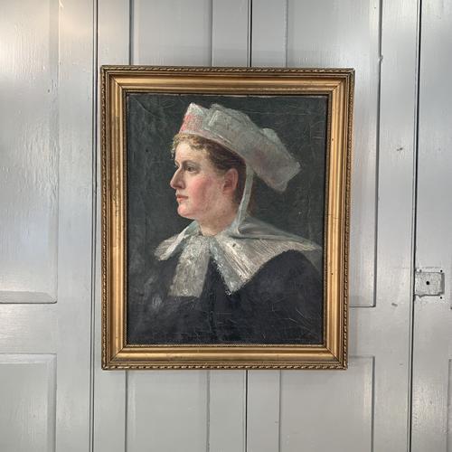 Antique French Oil Painting Portrait Possibly a Nurse's Uniform (1 of 10)
