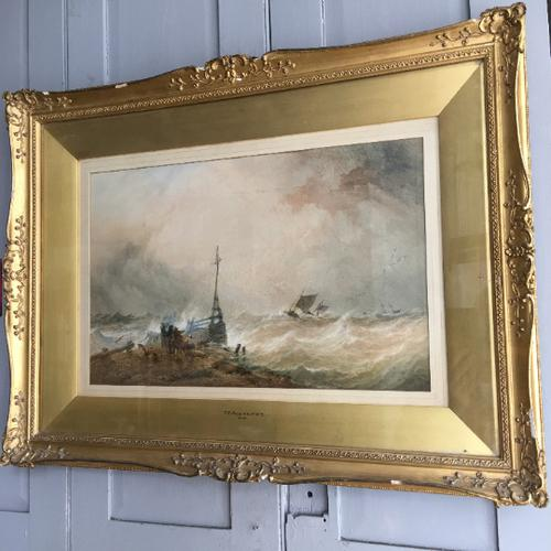 Antique Victorian Maritime Watercolour Painting by Ts Robins Rws Dated 1868 (1 of 10)
