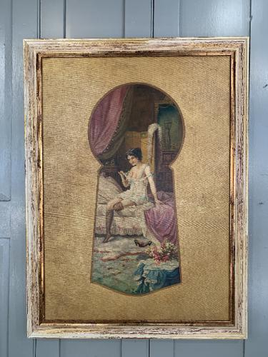 Antique Large Kitsch Fantasy Oil Painting Looking Through the Keyhole at Woman in Boudoir Signed H Zatzka 1 of 2 (1 of 10)