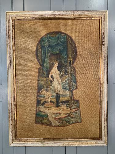 Antique Large Kitsch Fantasy Oil Painting Looking Through the Keyhole At Woman in Salon Boudoir Signed H Zatzka 2 of 2 (1 of 10)