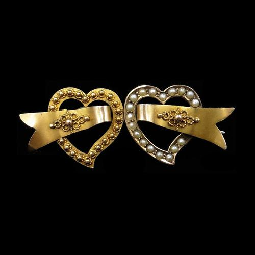 Antique Edwardian Double Heart Seed Pearl 9ct Gold Brooch Pin (1 of 5)