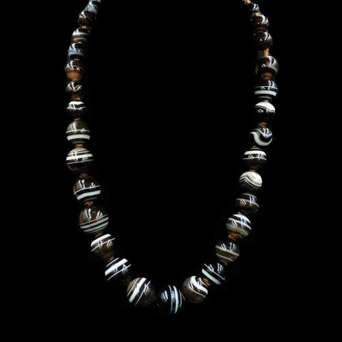 Antique Victorian Banded Bullseye Agate Beaded Necklace (1 of 8)