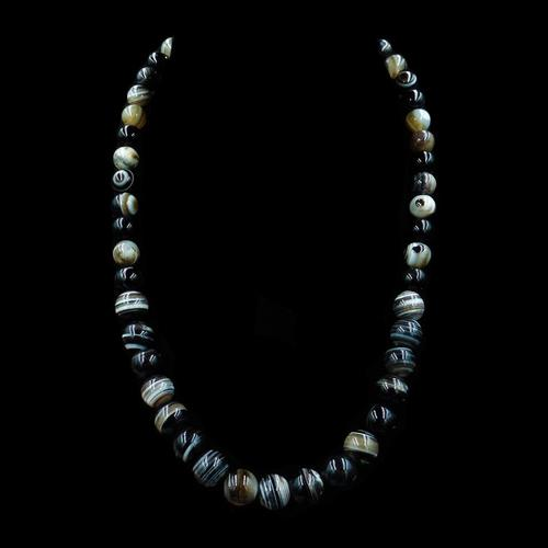 Antique Victorian Banded Bullseye Agate Beaded Necklace with Silver Fastening (1 of 9)