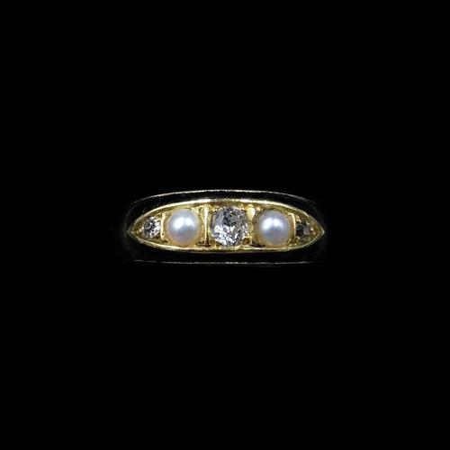 Antique Victorian Black Enamel Diamond & Pearl 18ct Gold Mourning Ring Band (1 of 10)