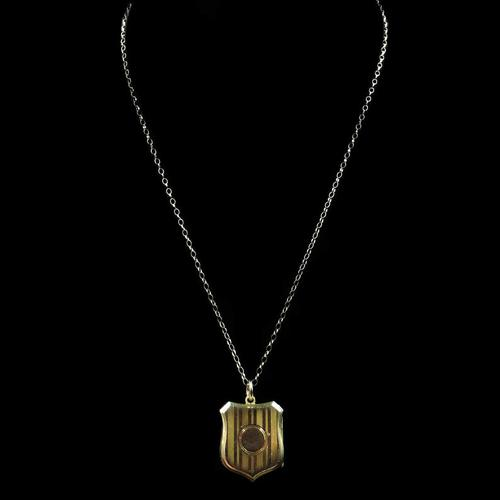 Antique Shield Striped 9ct Yellow Gold Photo Locket & Chain Necklace (1 of 9)