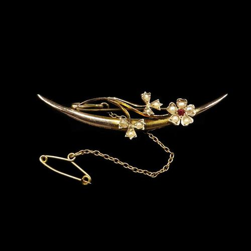 Antique Pearl Flower Crescent Moon 9ct 9K Gold Brooch Pin (1 of 5)