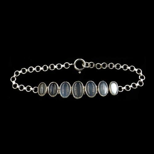 Antique Cabochon Moonstone Hinged Sterling Silver Bracelet (1 of 9)