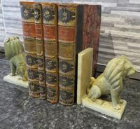 Pair of Onyx Book Ends Sitting Lions on plinth base (6 of 6)