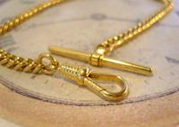 Vintage Pocket Watch Chain 1970s 12ct Gold Plated Curb Link Albert With T Bar (7 of 9)
