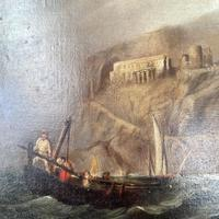 Antique Victorian Large Marine Seascape Oil Painting of Sailing Boats (7 of 10)