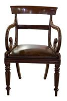 Mahogany Scroll Armchair with Brown Leather Seat (5 of 7)