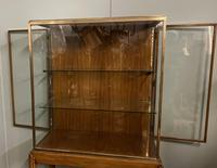Brass Glazed Shop Display Cabinet on Wooden Stand with Drawer (4 of 13)