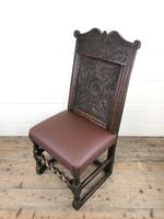Early 18th Century Carved Oak Chair with Leather Seat (M-192) (8 of 10)