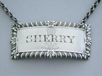George III Royal Silver Wine Label 'Sherry' - Prince of Wales by Paul Storr, London, 1812