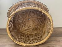 Vintage Boho Mid 20th Century Rounded Peacock Rattan Chair with Cushion (14 of 15)