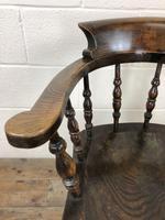 Antique Beech & Elm Smoker's Bow Armchair (5 of 9)