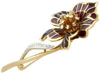 0.47ct Diamond & Plique a Jour Enamel, 18ct Yellow Gold Brooch - Vintage 1954 (3 of 9)