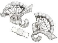 4.16ct Diamond & Platinum Double Clip Brooch - Art Deco c.1930 (4 of 12)