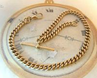 Antique Pocket Watch Chain 1890s Victorian Large 10ct Rose Gold Filled Albert With T Bar (4 of 12)
