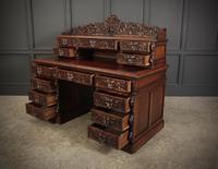 Carved Oak Pedestal Desk (10 of 19)