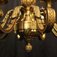 French Gilded Bronze 8 Light Antique Chandelier (9 of 10)