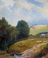 'Sheep In The Yorkshire Dales' - Original 1943 Vintage Landscape Oil Painting (5 of 12)