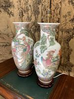Pair of Early 20th Century Chinese Painted Lamps (5 of 5)