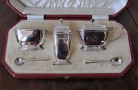 Antique Solid Silver Art Deco Cruet Set
