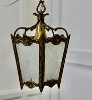 French Brass & Etched Glass Lantern Hall Light (6 of 6)