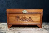 Early 20th Century Oriental Carved Teak and Camphor Wood Chest (9 of 12)