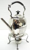 English Victorian Antique Solid Silver Spirit Kettle with Original Silver Burner c.1900 (5 of 9)